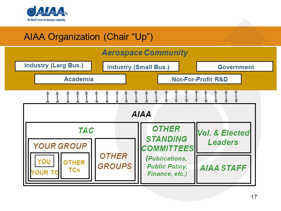 17 AIAA Organization (Chair Up) Industry (Small Bus.) Not-For-Profit R&D Academia Industry (Larg Bus.) Government Aerospace Community AIAA TAC YOUR TC YOUR GROUP OTHER TCs YOU OTHER GROUPS OTHER STANDING COMMITTEES ( Publications, Public Policy, Finance, etc.) Vol.
