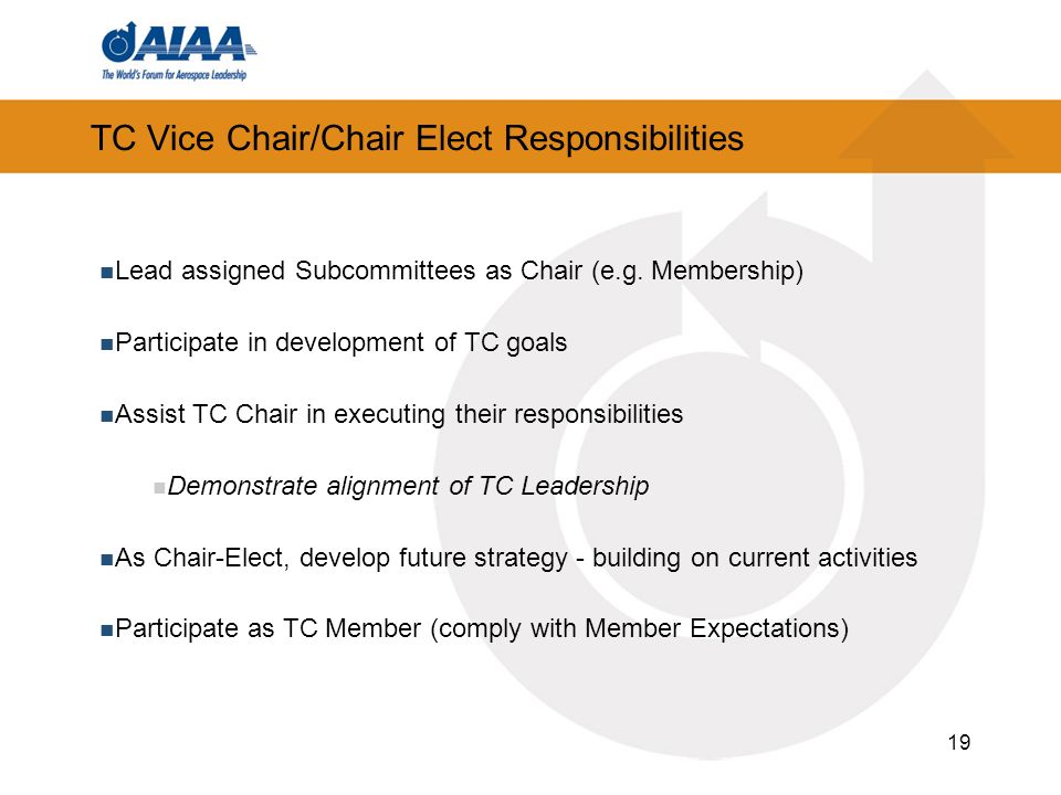19 TC Vice Chair/Chair Elect Responsibilities Lead assigned Subcommittees as Chair (e.g.