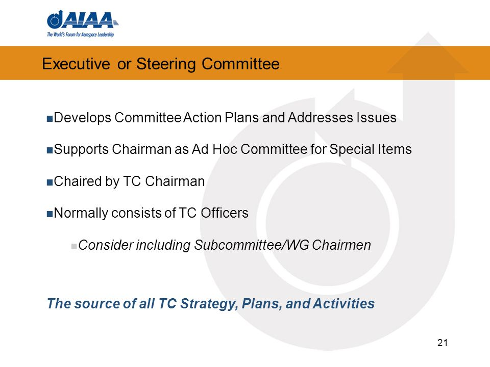 21 Executive or Steering Committee Develops Committee Action Plans and Addresses Issues Supports Chairman as Ad Hoc Committee for Special Items Chaired by TC Chairman Normally consists of TC Officers Consider including Subcommittee/WG Chairmen The source of all TC Strategy, Plans, and Activities
