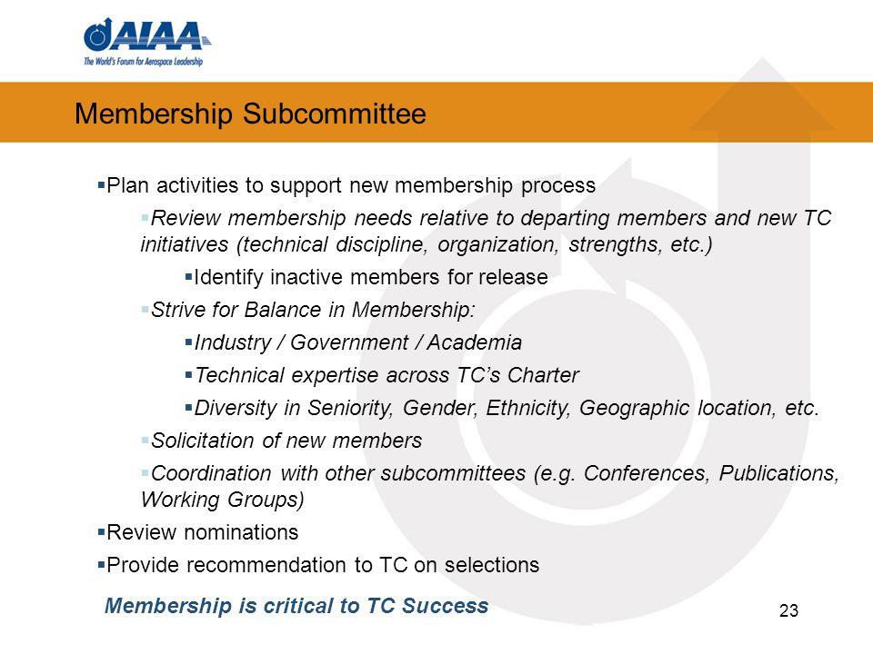 23 Membership Subcommittee Plan activities to support new membership process Review membership needs relative to departing members and new TC initiati
