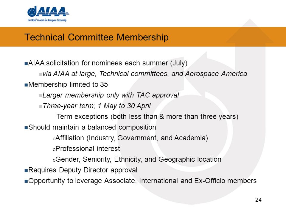 24 Technical Committee Membership AIAA solicitation for nominees each summer (July) via AIAA at large, Technical committees, and Aerospace America Mem