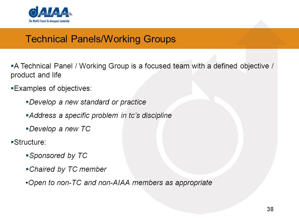 38 Technical Panels/Working Groups A Technical Panel / Working Group is a focused team with a defined objective / product and life Examples of objectives: Develop a new standard or practice Address a specific problem in tcs discipline Develop a new TC Structure: Sponsored by TC Chaired by TC member Open to non-TC and non-AIAA members as appropriate