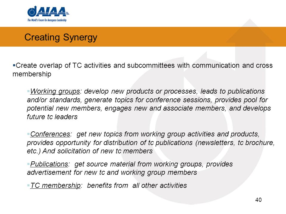 40 Creating Synergy Create overlap of TC activities and subcommittees with communication and cross membership Working groups: develop new products or