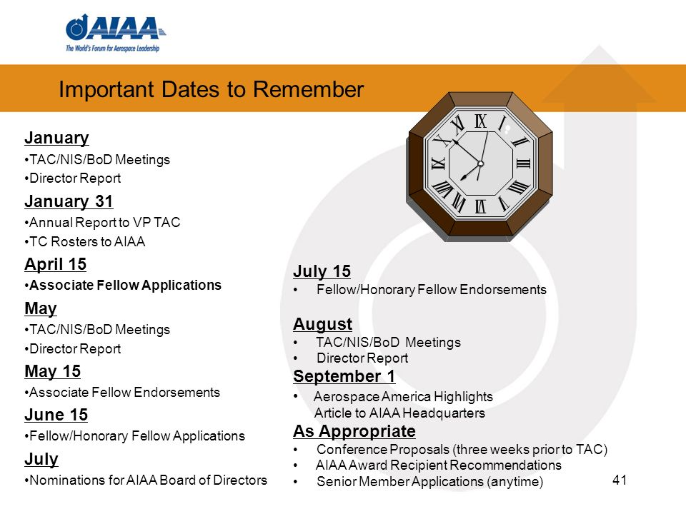 41 Important Dates to Remember January TAC/NIS/BoD Meetings Director Report January 31 Annual Report to VP TAC TC Rosters to AIAA April 15 Associate F