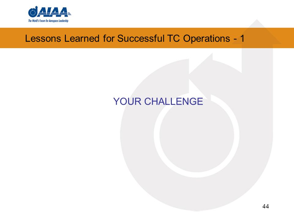 44 Lessons Learned for Successful TC Operations - 1 YOUR CHALLENGE
