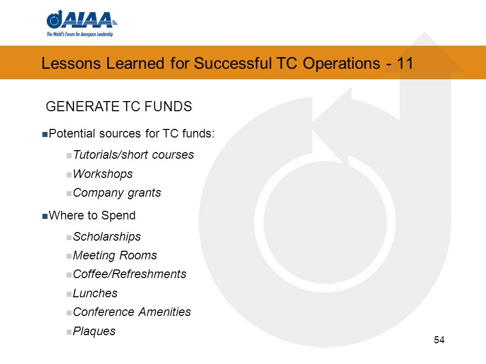 54 Lessons Learned for Successful TC Operations - 11 Potential sources for TC funds: Tutorials/short courses Workshops Company grants Where to Spend Scholarships Meeting Rooms Coffee/Refreshments Lunches Conference Amenities Plaques GENERATE TC FUNDS
