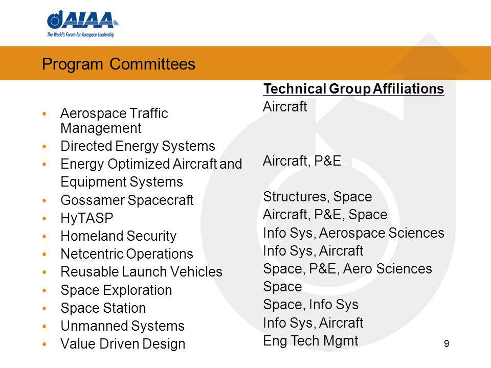 9 Program Committees Aerospace Traffic Management Directed Energy Systems Energy Optimized Aircraft and Equipment Systems Gossamer Spacecraft HyTASP H