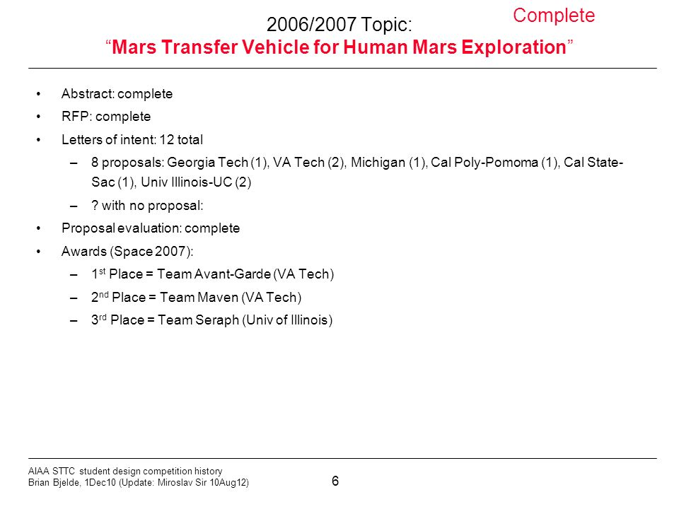 6 AIAA STTC student design competition history Brian Bjelde, 1Dec10 (Update: Miroslav Sir 10Aug12) 2006/2007 Topic:Mars Transfer Vehicle for Human Mars Exploration Abstract: complete RFP: complete Letters of intent: 12 total –8 proposals: Georgia Tech (1), VA Tech (2), Michigan (1), Cal Poly-Pomoma (1), Cal State- Sac (1), Univ Illinois-UC (2) –.