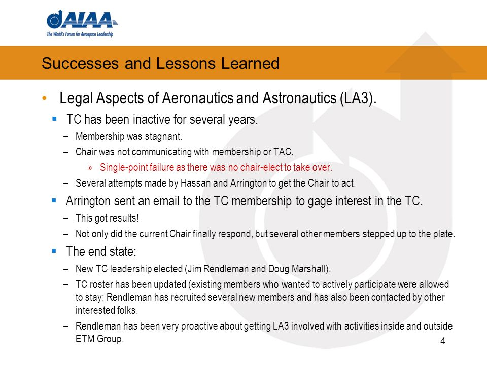 Successes and Lessons Learned Legal Aspects of Aeronautics and Astronautics (LA3). TC has been inactive for several years. –Membership was stagnant. –