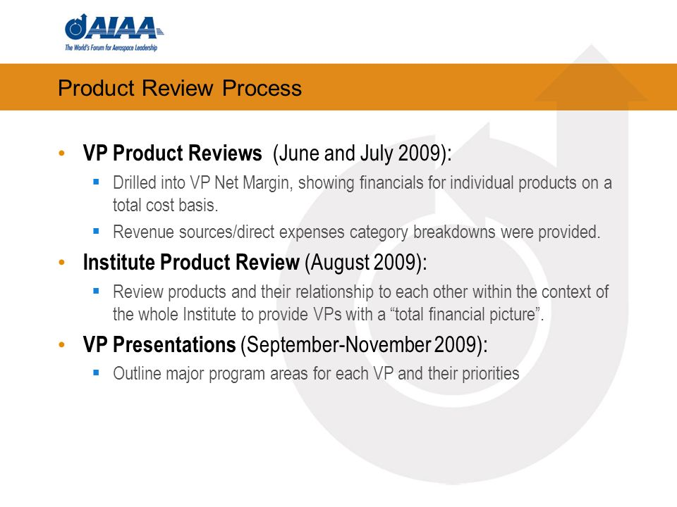 Product Review Process VP Product Reviews (June and July 2009): Drilled into VP Net Margin, showing financials for individual products on a total cost basis.