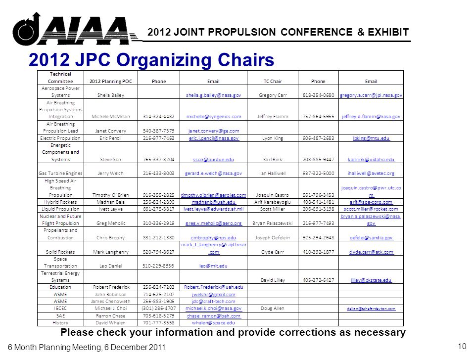 10 6 Month Planning Meeting, 6 December 2011 2012 JOINT PROPULSION CONFERENCE & EXHIBIT 2012 JPC Organizing Chairs Please check your information and provide corrections as necessary