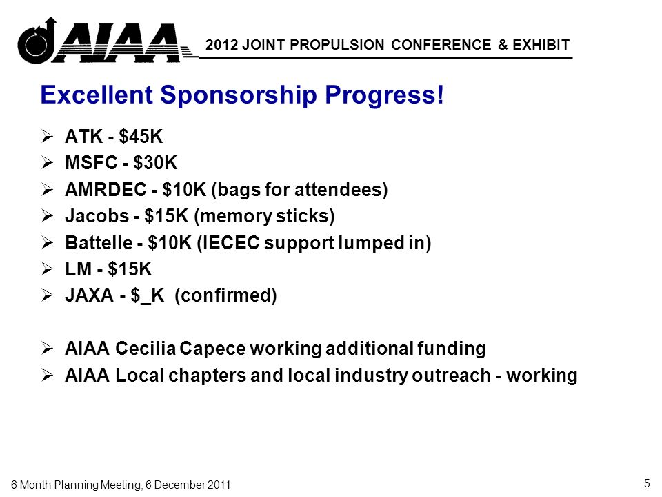 5 6 Month Planning Meeting, 6 December 2011 2012 JOINT PROPULSION CONFERENCE & EXHIBIT Excellent Sponsorship Progress.