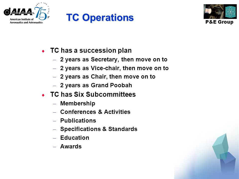 P&E Group TC Operations TC has a succession plan – 2 years as Secretary, then move on to – 2 years as Vice-chair, then move on to – 2 years as Chair, then move on to – 2 years as Grand Poobah TC has Six Subcommittees – Membership – Conferences & Activities – Publications – Specifications & Standards – Education – Awards