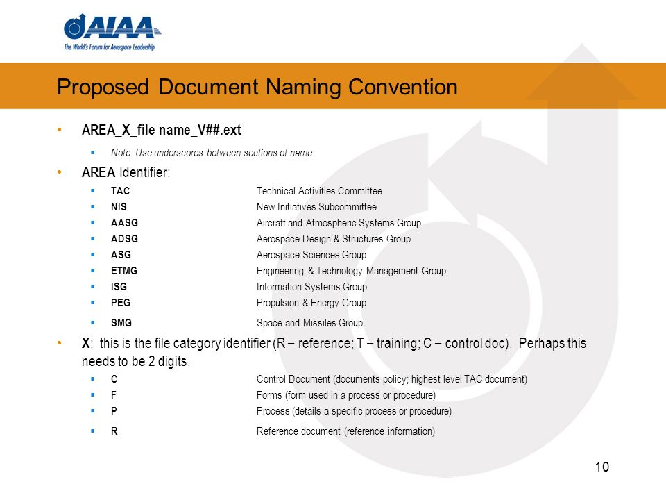Proposed Document Naming Convention AREA_X_file name_V##.ext Note: Use underscores between sections of name.