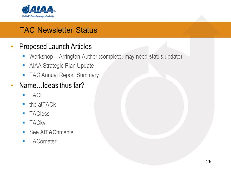 TAC Newsletter Status Proposed Launch Articles Workshop – Arrington Author (complete, may need status update) AIAA Strategic Plan Update TAC Annual Report Summary Name…Ideas thus far.