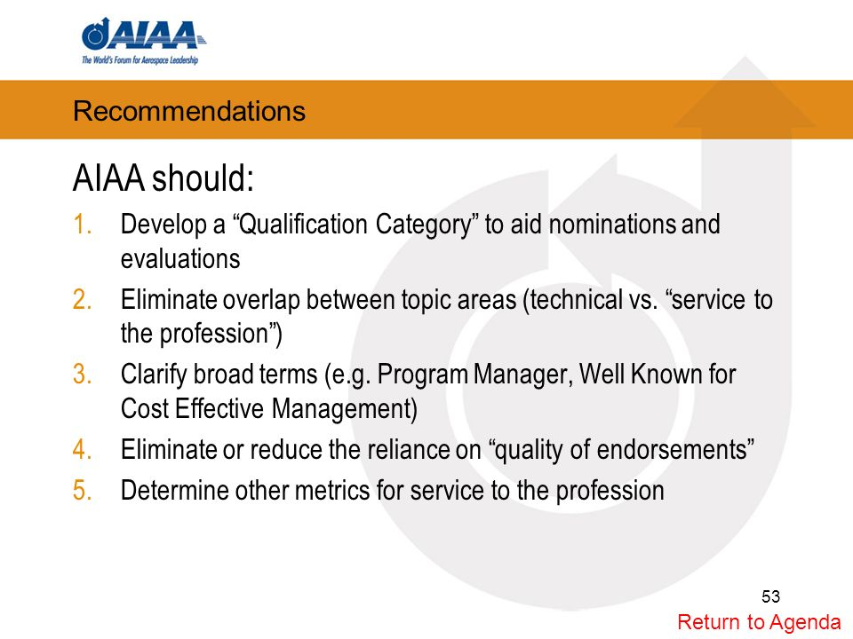 Recommendations AIAA should: 1.Develop a Qualification Category to aid nominations and evaluations 2.Eliminate overlap between topic areas (technical vs.