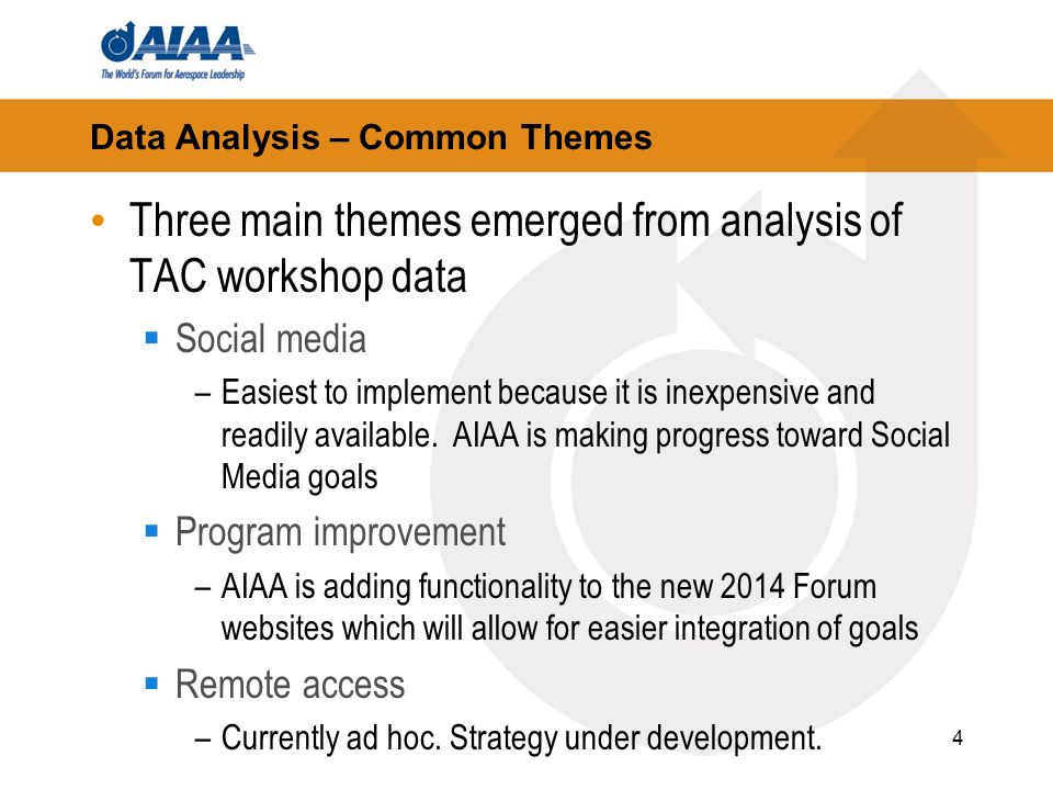 4 Data Analysis – Common Themes Three main themes emerged from analysis of TAC workshop data Social media –Easiest to implement because it is inexpensive and readily available.