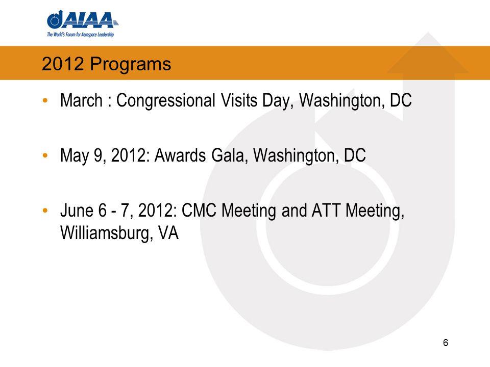 2012 Programs March : Congressional Visits Day, Washington, DC May 9, 2012: Awards Gala, Washington, DC June 6 - 7, 2012: CMC Meeting and ATT Meeting, Williamsburg, VA 6