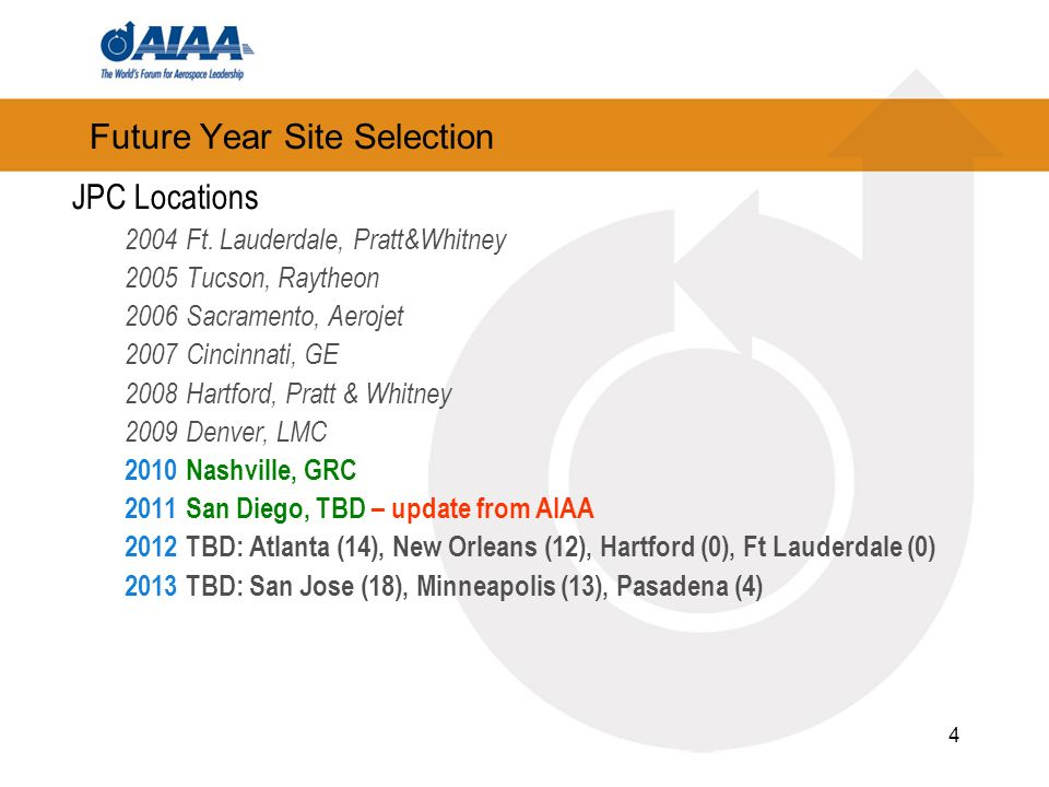 4 Future Year Site Selection JPC Locations 2004Ft.
