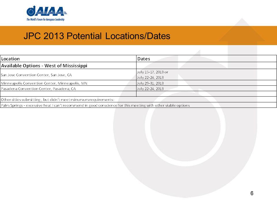 6 JPC 2013 Potential Locations/Dates