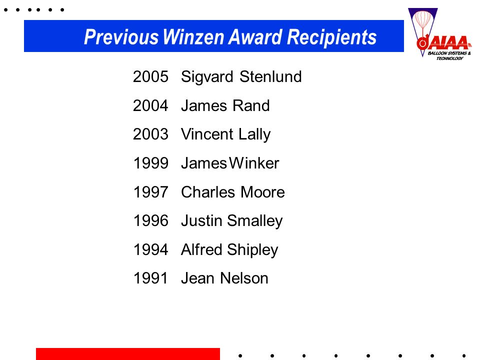 Previous Winzen Award Recipients 2005 Sigvard Stenlund 2004 James Rand 2003 Vincent Lally 1999 JamesWinker 1997 Charles Moore 1996 Justin Smalley 1994
