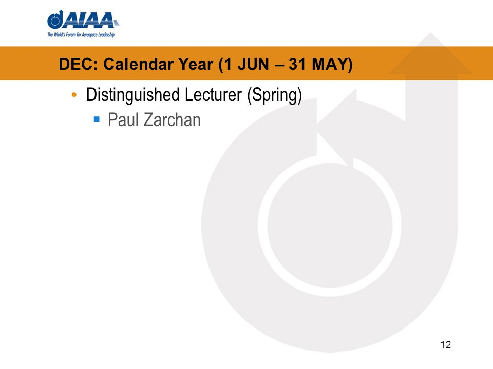 12 DEC: Calendar Year (1 JUN – 31 MAY) Distinguished Lecturer (Spring) Paul Zarchan