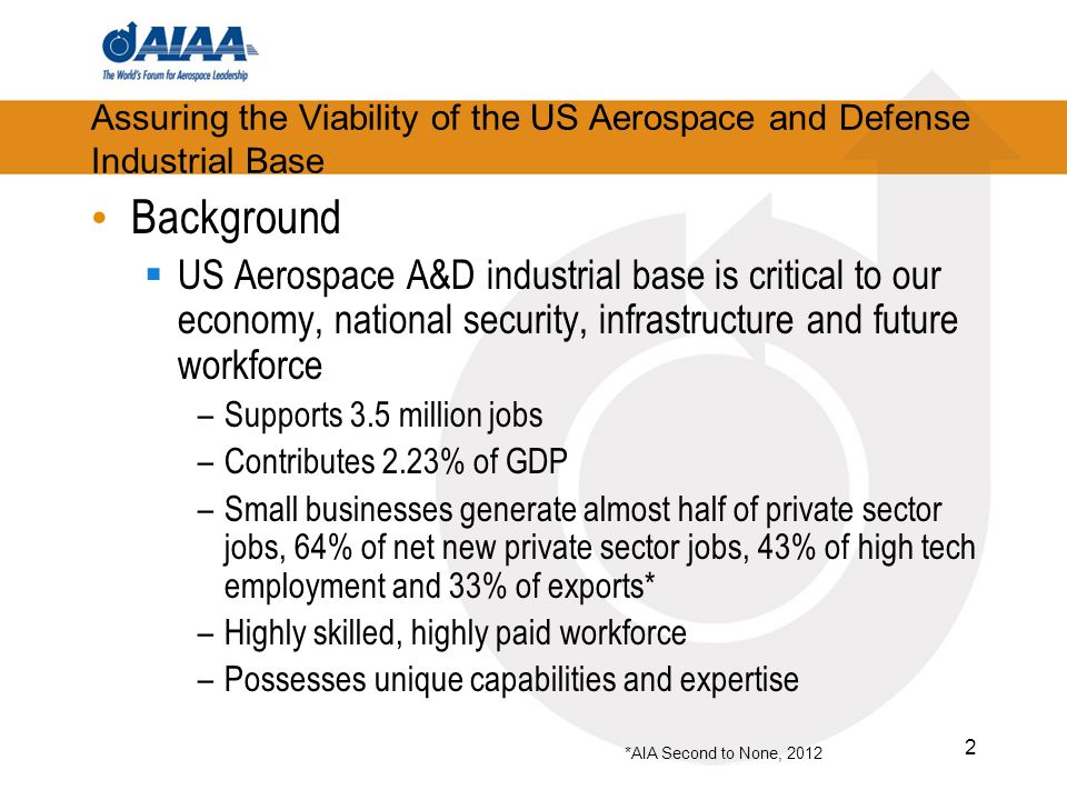 2 Assuring the Viability of the US Aerospace and Defense Industrial Base Background US Aerospace A&D industrial base is critical to our economy, natio