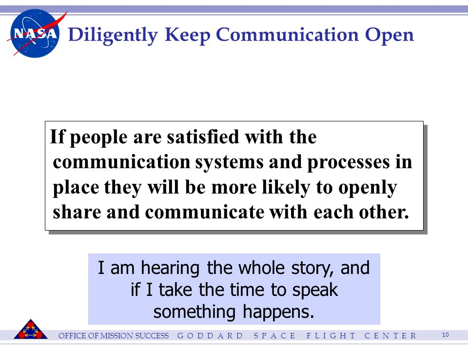 OFFICE OF MISSION SUCCESS G O D D A R D S P A C E F L I G H T C E N T E R 10 Diligently Keep Communication Open If people are satisfied with the communication systems and processes in place they will be more likely to openly share and communicate with each other.