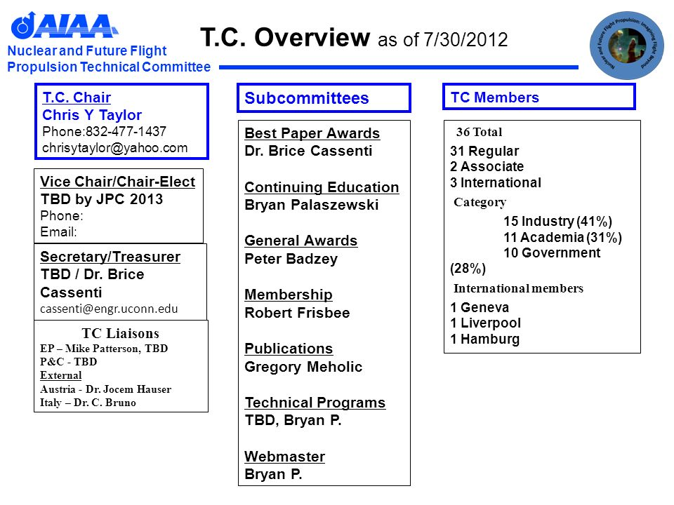 Nuclear and Future Flight Propulsion Technical Committee T.C.