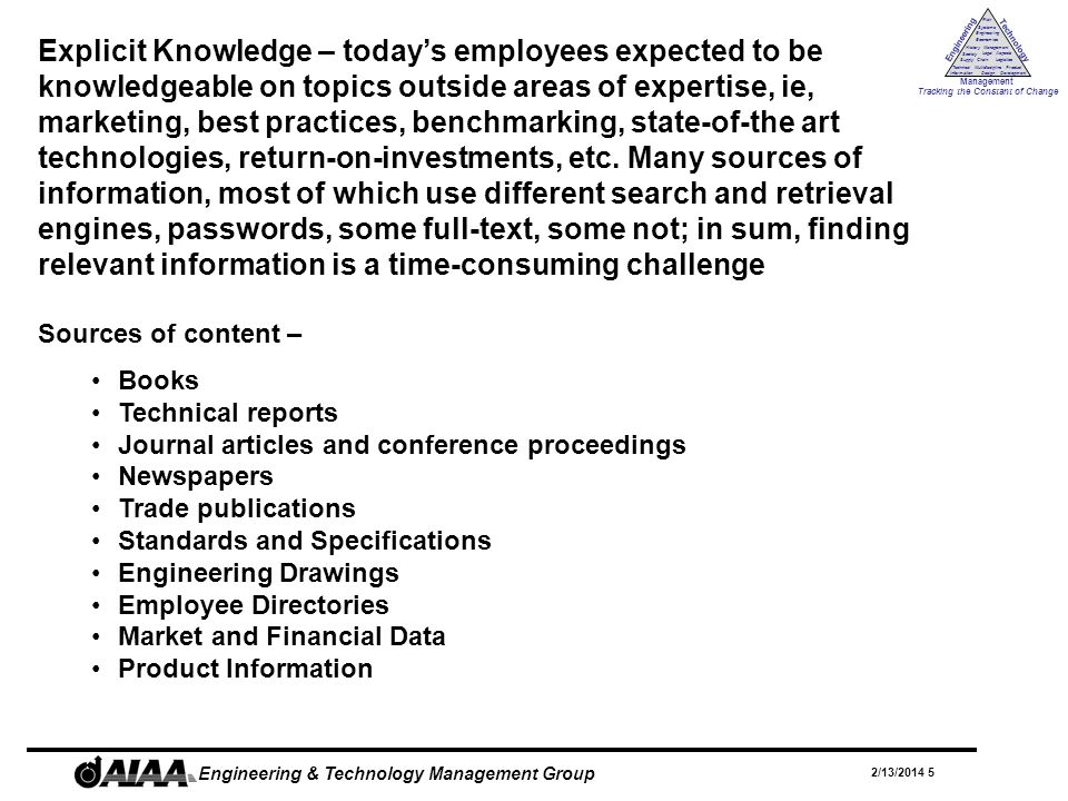 Engineering Technology Management Tracking the Constant of Change Management History Society Legal Aspects LogisticsSupply Chain Systems Engineering Economics Risk Technical Information Multidiscipline Design Product Development 2/13/2014 16 Engineering & Technology Management Group Web Services Web services are programmatic interfaces that allow applications to talk to one another.