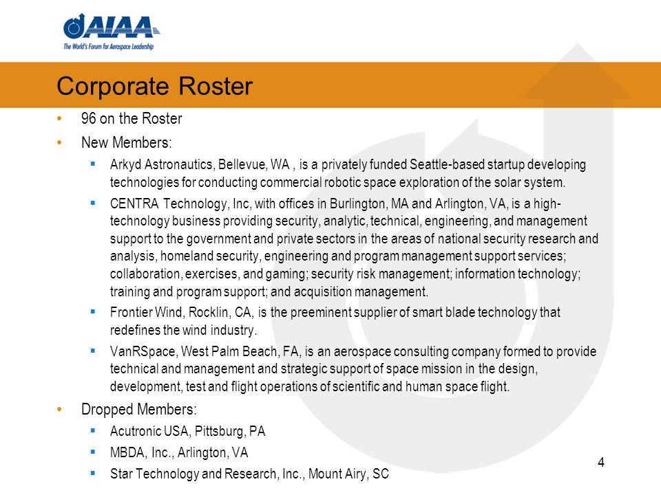Corporate Roster 96 on the Roster New Members: Arkyd Astronautics, Bellevue, WA, is a privately funded Seattle-based startup developing technologies for conducting commercial robotic space exploration of the solar system.