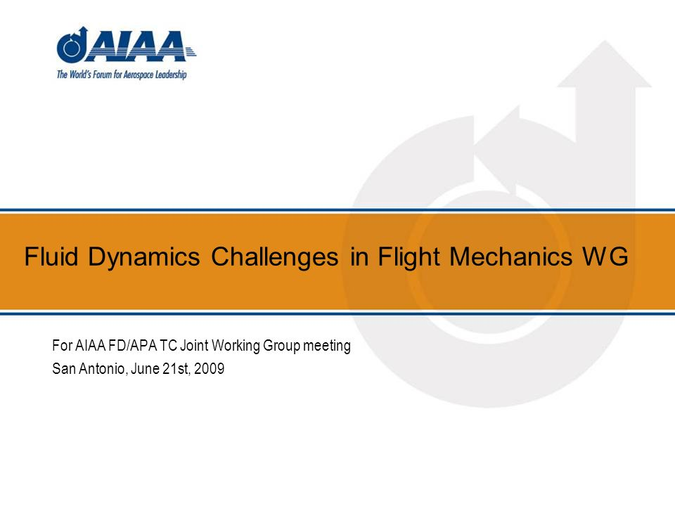 Fluid Dynamics Challenges in Flight Mechanics WG For AIAA FD/APA TC Joint Working Group meeting San Antonio, June 21st, 2009