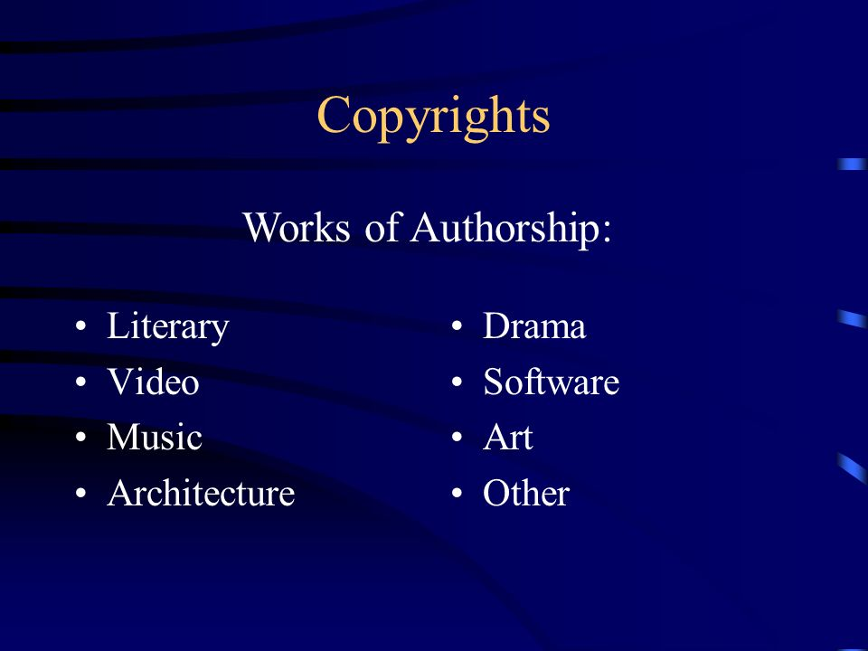 Copyrights Literary Video Music Architecture Drama Software Art Other Works of Authorship: