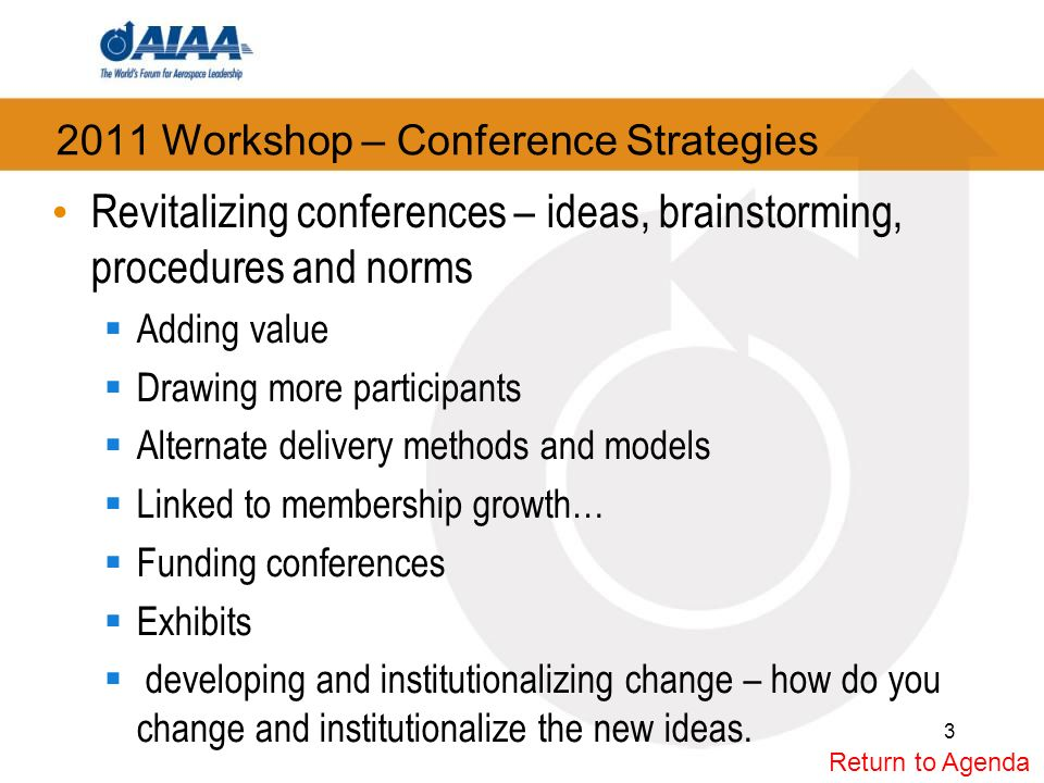 2011 Workshop – Conference Strategies Revitalizing conferences – ideas, brainstorming, procedures and norms Adding value Drawing more participants Alternate delivery methods and models Linked to membership growth… Funding conferences Exhibits developing and institutionalizing change – how do you change and institutionalize the new ideas.