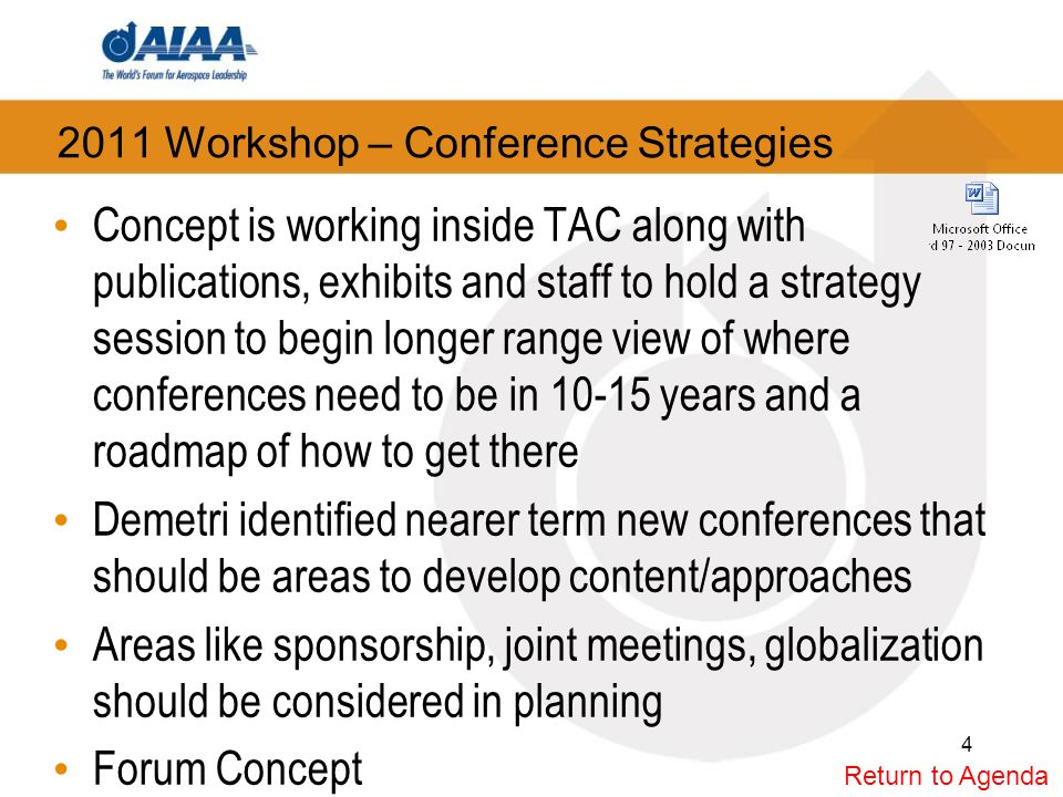 2011 Workshop – Conference Strategies Action Plan: Nominally structured around previous workshops Upfront briefing/challenges – develop call to action –Review current thoughts and efforts to reinvigorate conferences –Solicit brainstorming ideas ahead of time.