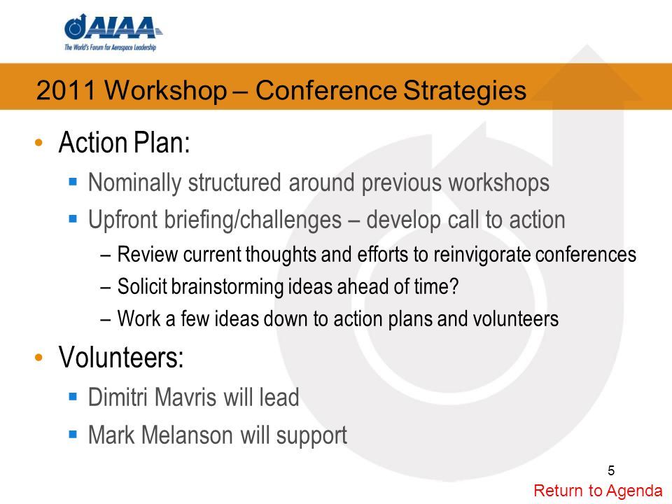 2011 Workshop – Conference Strategies Action Plan: Nominally structured around previous workshops Upfront briefing/challenges – develop call to action