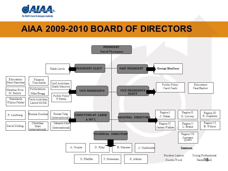 18 AIAA BOARD OF DIRECTORS PRESIDENT David Thompson VICE PRESIDENTS ELECT PAST PRESIDENT PRESIDENT-ELECT VICE PRESIDENTS TECHNICAL DIRECTORS Intl Activities Mark Maurice Public Policy P Hattis Member Svcs M.