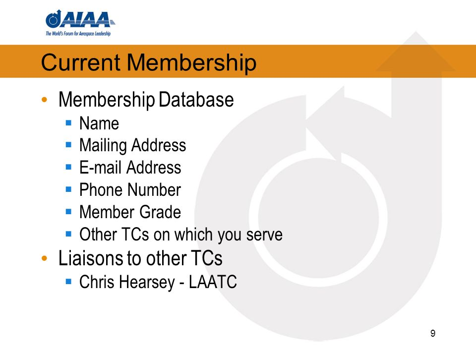 Current Membership Membership Database Name Mailing Address  Address Phone Number Member Grade Other TCs on which you serve Liaisons to other TCs Chris Hearsey - LAATC 9