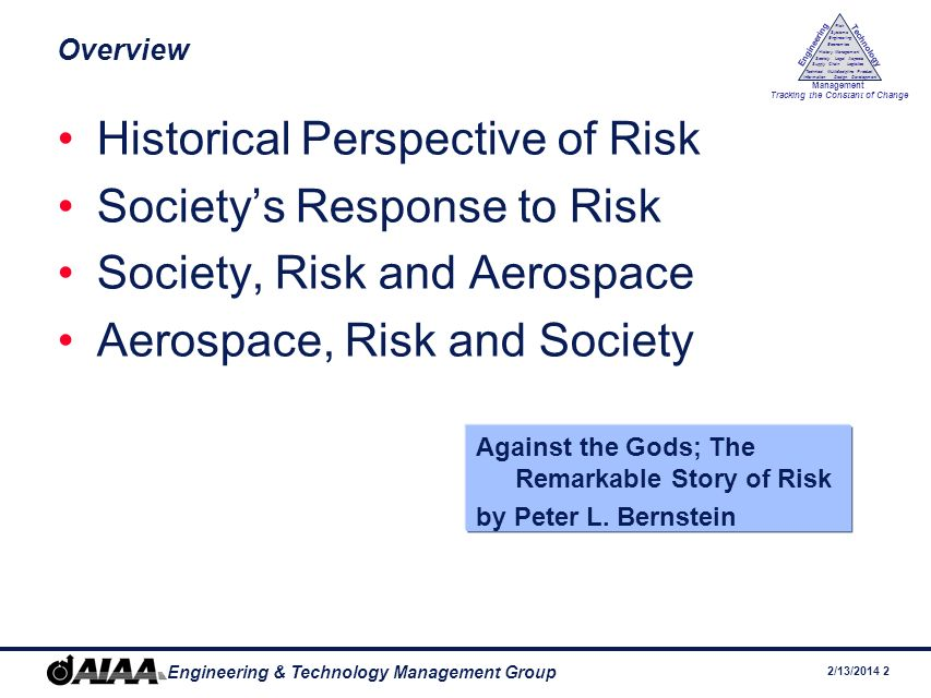 2/13/ Engineering & Technology Management Group Engineering Technology Management Tracking the Constant of Change Management History Society Legal Aspects LogisticsSupply Chain Systems Engineering Economics Risk Technical Information Multidiscipline Design Product Development Overview Historical Perspective of Risk Societys Response to Risk Society, Risk and Aerospace Aerospace, Risk and Society Against the Gods; The Remarkable Story of Risk by Peter L.