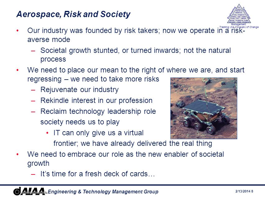 2/13/ Engineering & Technology Management Group Engineering Technology Management Tracking the Constant of Change Management History Society Legal Aspects LogisticsSupply Chain Systems Engineering Economics Risk Technical Information Multidiscipline Design Product Development Aerospace, Risk and Society Our industry was founded by risk takers; now we operate in a risk- averse mode –Societal growth stunted, or turned inwards; not the natural process We need to place our mean to the right of where we are, and start regressing – we need to take more risks –Rejuvenate our industry –Rekindle interest in our profession –Reclaim technology leadership role society needs us to play IT can only give us a virtual frontier; we have already delivered the real thing We need to embrace our role as the new enabler of societal growth –Its time for a fresh deck of cards…