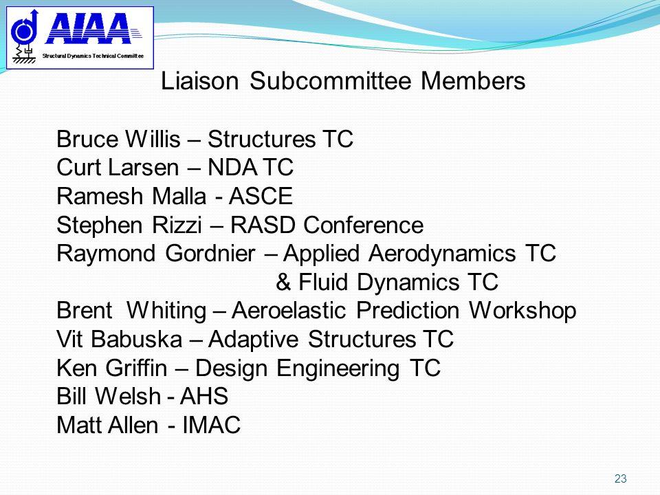 23 Bruce Willis – Structures TC Curt Larsen – NDA TC Ramesh Malla - ASCE Stephen Rizzi – RASD Conference Raymond Gordnier – Applied Aerodynamics TC &
