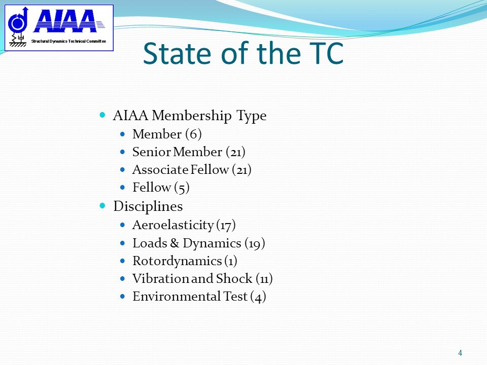 State of the TC 5 Subcommittees (#members)/Chairs Chair:Paul Taylor Vice-Chair:Bruce Willis Secretariat:Emmett McDonald Awards (8):Ray Gordnier Conferences (29):John Kosmatka Education (25):Andy Brown Liaison (10):Bill Welsh Past Chairs (2):Teresa Kinney Publications (10):Todd Griffith Standards (12):Teresa Kinney Website (4):Veresh Wickramasinghe SDM Long-RangePeretz Friedmann Planning Rep.: