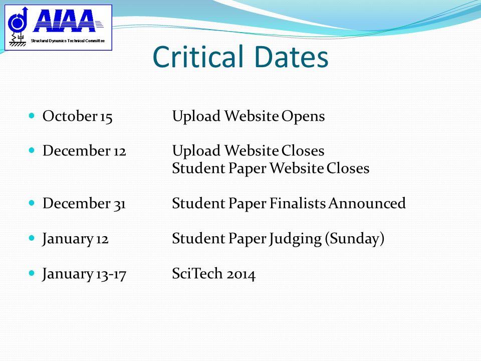Critical Dates October 15Upload Website Opens December 12Upload Website Closes Student Paper Website Closes December 31Student Paper Finalists Announc