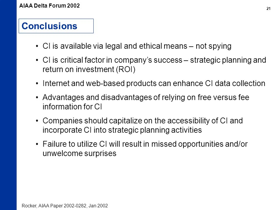 Conclusions CI is available via legal and ethical means – not spying CI is critical factor in companys success – strategic planning and return on inve