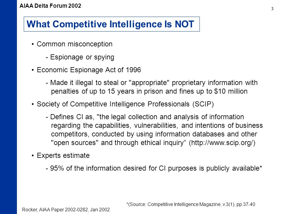 What Competitive Intelligence Is NOT Common misconception - Espionage or spying Economic Espionage Act of Made it illegal to steal or appropriate proprietary information with penalties of up to 15 years in prison and fines up to $10 million Society of Competitive Intelligence Professionals (SCIP) - Defines CI as, the legal collection and analysis of information regarding the capabilities, vulnerabilities, and intentions of business competitors, conducted by using information databases and other open sources and through ethical inquiry (  Experts estimate - 95% of the information desired for CI purposes is publicly available* *(Source: Competitive Intelligence Magazine, v.3(1), pp Rocker, AIAA Paper , Jan 2002 AIAA Delta Forum