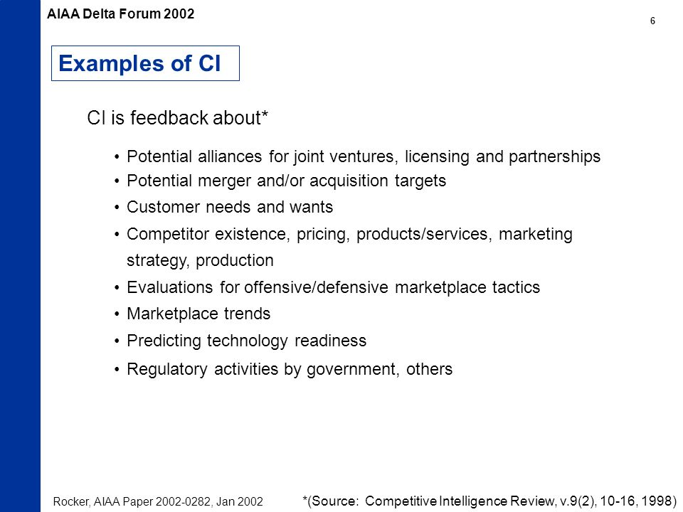 Examples of CI Potential alliances for joint ventures, licensing and partnerships Potential merger and/or acquisition targets Customer needs and wants Competitor existence, pricing, products/services, marketing strategy, production Evaluations for offensive/defensive marketplace tactics Marketplace trends Predicting technology readiness Regulatory activities by government, others *(Source: Competitive Intelligence Review, v.9(2), 10-16, 1998) CI is feedback about* Rocker, AIAA Paper , Jan 2002 AIAA Delta Forum
