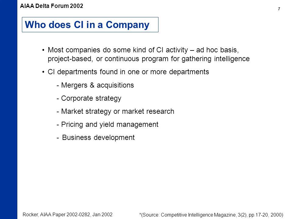 Who does CI in a Company Most companies do some kind of CI activity – ad hoc basis, project-based, or continuous program for gathering intelligence CI
