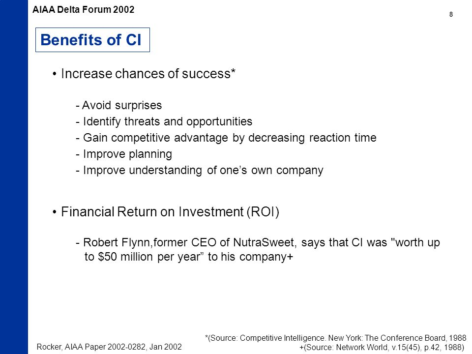 Benefits of CI Increase chances of success* - Avoid surprises - Identify threats and opportunities - Gain competitive advantage by decreasing reaction