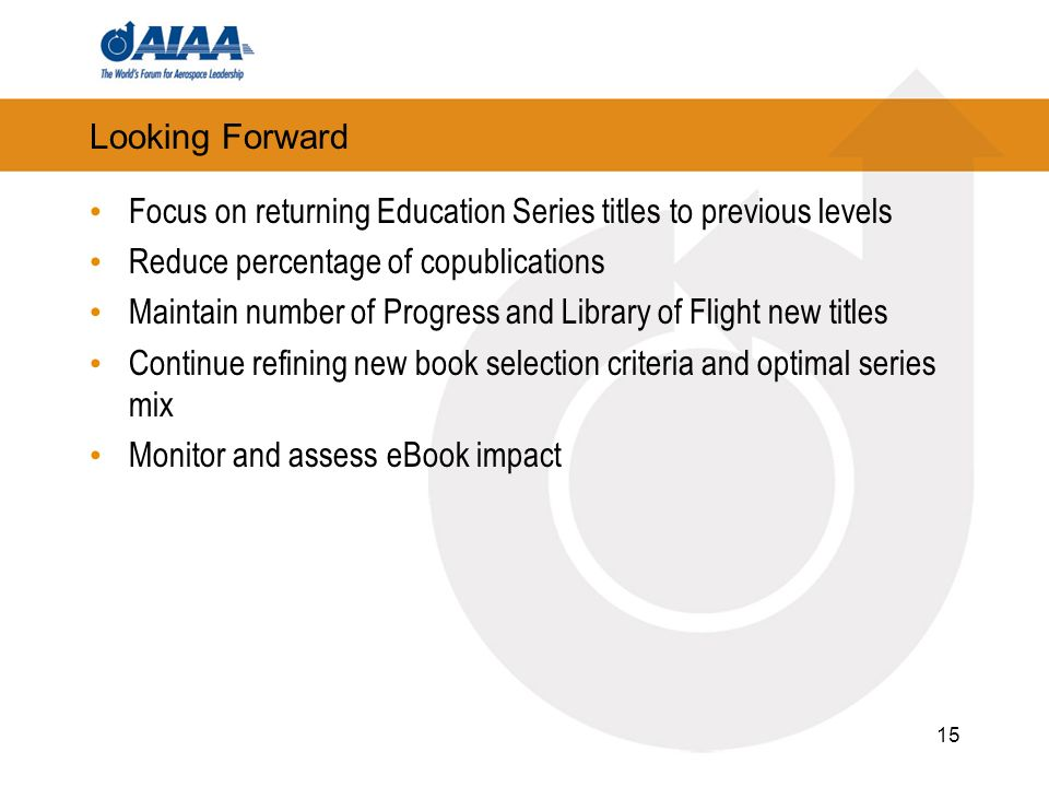 15 Looking Forward Focus on returning Education Series titles to previous levels Reduce percentage of copublications Maintain number of Progress and Library of Flight new titles Continue refining new book selection criteria and optimal series mix Monitor and assess eBook impact