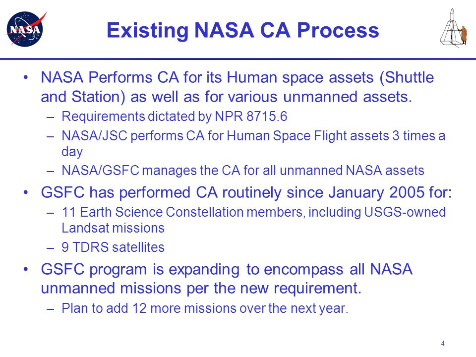 4 Existing NASA CA Process NASA Performs CA for its Human space assets (Shuttle and Station) as well as for various unmanned assets. –Requirements dic